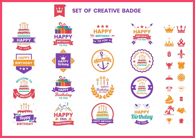 Happy birthday badges, labels and icons set
