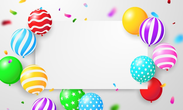 Happy birthday balloons colorful celebration frame with confetti.