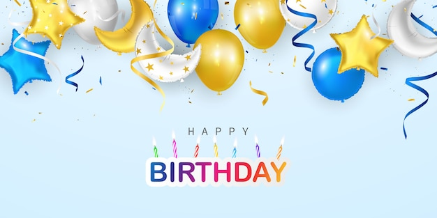 Happy birthday balloons colorful celebration greeting card with confetti.