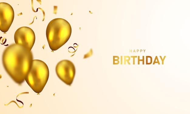 Happy birthday balloons confetti colorful background celebration