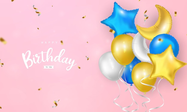 Happy birthday balloons confetti colorful greeting card ready to print