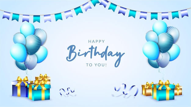 Happy birthday banner or background balloons with box and golden luxury ribbon
