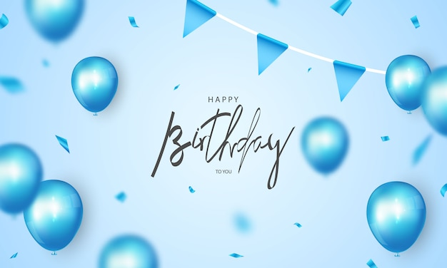 Happy birthday banner blue celebration background