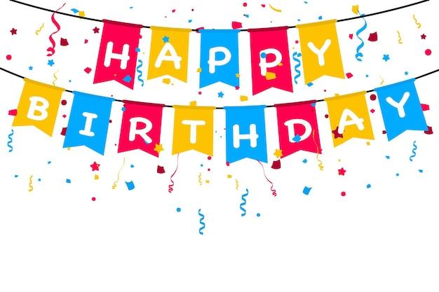 생일 축하 배너. 생일 축 하를 위한 디자인 서식 파일 흰색 바탕에 색종이와 생일 파티 플래그입니다. 플래그와 함께 카니발 화환입니다. 파티 여러 가지 빛깔의 깃발 천 플래그