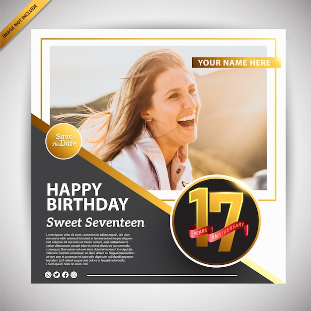 Happy birthday banner promotion template