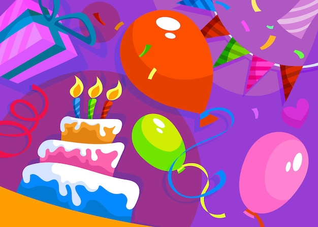 Happy birthday banner with cake and decorations. holiday postcard design in cartoon style.