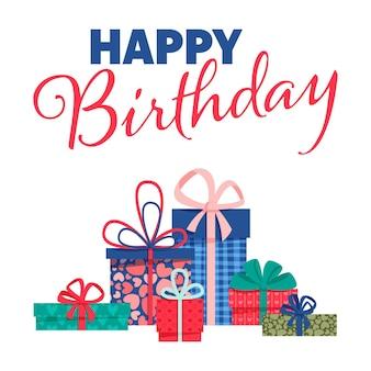 흰색 바탕에 납작한 다채로운 선물 상자와 글자가 있는 생일 축하 배너. 사용하기 쉽고 한 번의 클릭으로 벡터 디자인을 다시 칠할 수 있습니다.