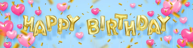 Happy birthday banner with pink balloons