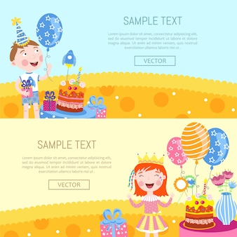 Happy birthday banners  illustration