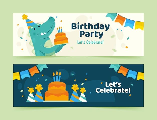 Modello di banner di buon compleanno con dinosauro