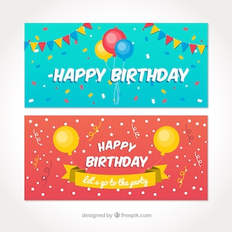 Happy birthday banners with colorful balloons and pennants in flat style