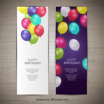 Happy birthday banners Free Vector