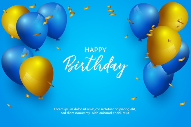 Happy birthday beautiful birthday background banner and greeting with balloons
