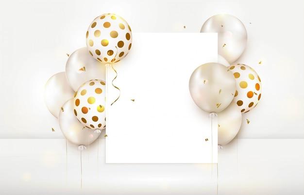 気球でお誕生日おめでとう空のグリーティングカード。 a4用紙。