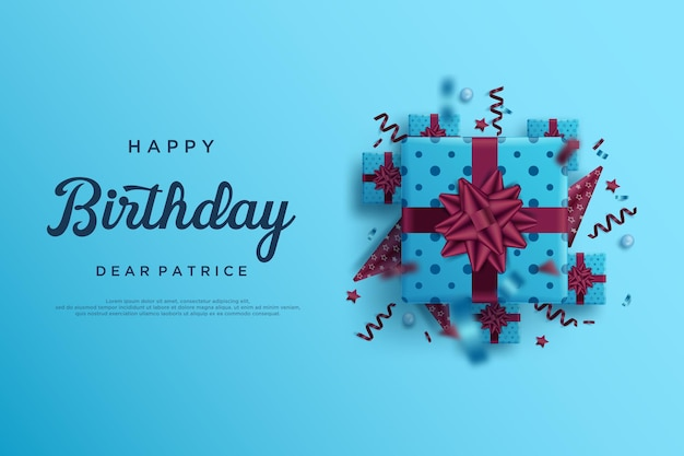 Happy birthday on blue background with several gift boxes