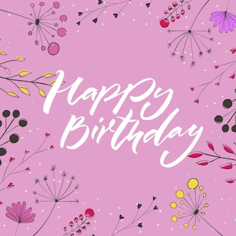 Happy birthday  blue text in floral fram with pink flowers and branches greeting card template
