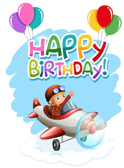 Happy birthday boy in plane card