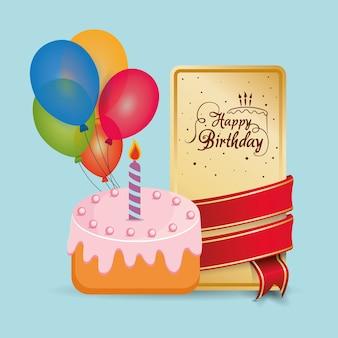 Happy birthday cake card wrapped ribbon balloons