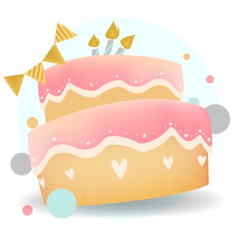 Happy birthday cake design vector