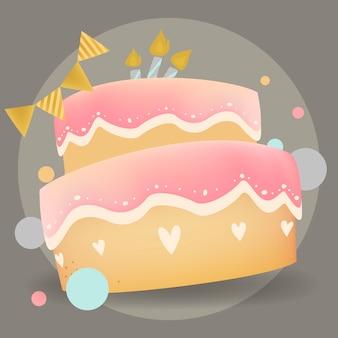Happy birthday cake design vector