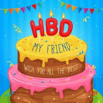 Happy birthday cake illustration