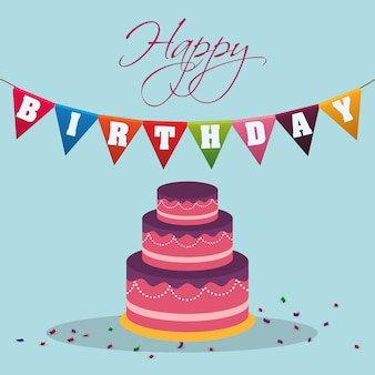 Happy birthday cake pennant decoration confetti