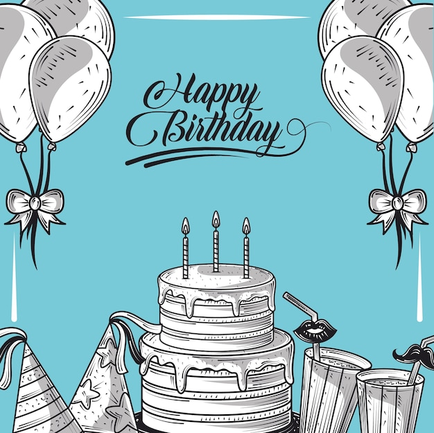Happy birthday cake with candle balloons hat and drinks party, engraving style blue background