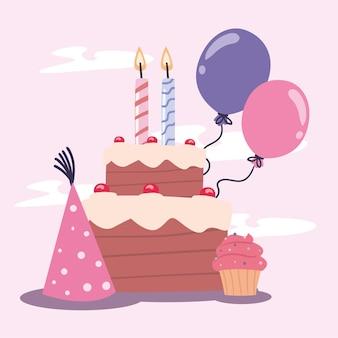 キャンドルと帽子とお誕生日おめでとうケーキ