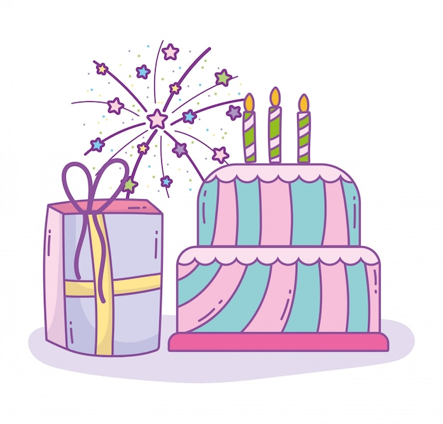 Happy birthday cake with candles and gift box celebration party