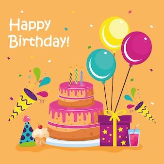 アイコンが設定されたお誕生日おめでとうケーキ