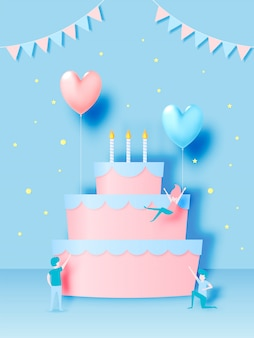 Happy birthday cake with paper art style and pastel color scheme vector illustration