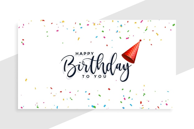 Happy birthday cap with confetti card