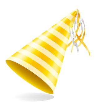 Happy birthday cap with ribbon on white