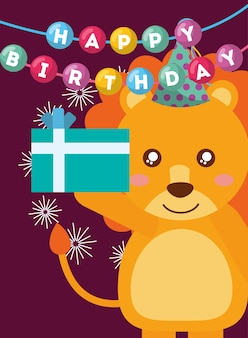 Happy birthday card and cute little lion and gift