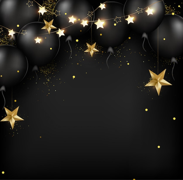 Happy birthday card background with black air balloons, golden 3d stars, confetti