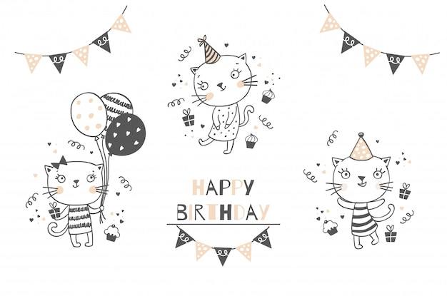 Happy birthday card. cartoon hand drawn kitty illustration.