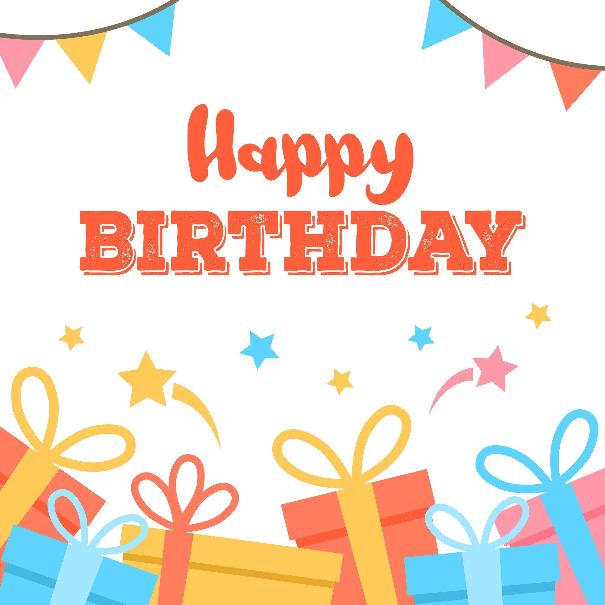 Happy Birthday card. Colorful flags garland composition.