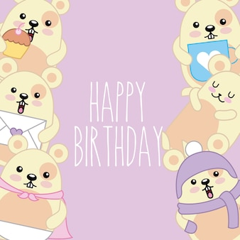 Happy birthday card cute kawaii mice