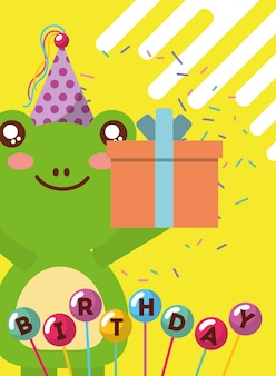 Happy birthday card and cute little frog and gift balloons