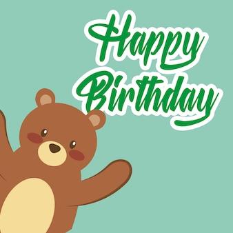 Happy birthday card cute teddy bear toy