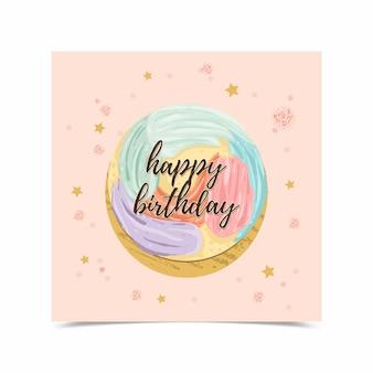 Scheda di buon compleanno decorata con immagini di torta
