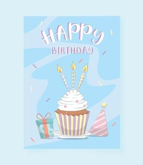 Scheda di buon compleanno decorata con cupcake e candele