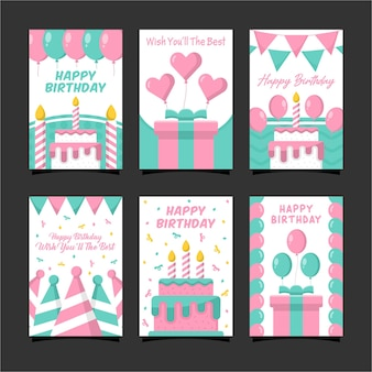 Happy birthday card design collection