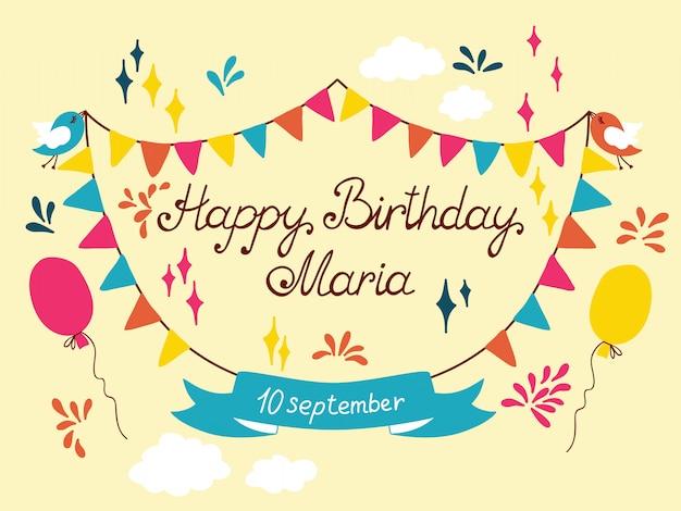 생일 축하 카드 디자인. 삽화