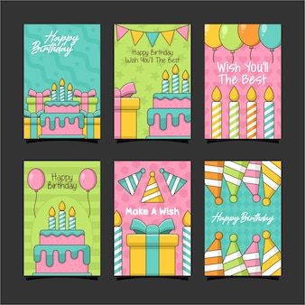 Happy birthday card design template collection