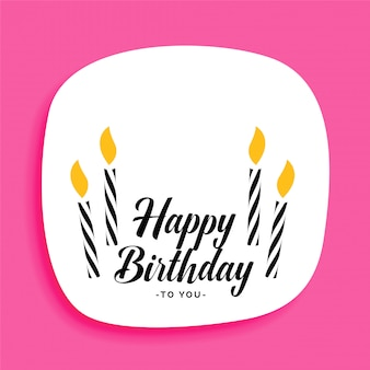 Happy birthday card design with candles and text space