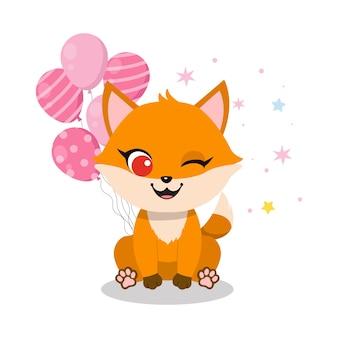 С днем рождения дизайн карты с милой маленькой лисичкой и воздушными шарами
