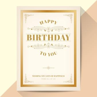 Happy birthday card. elegant vintage gold frame design.