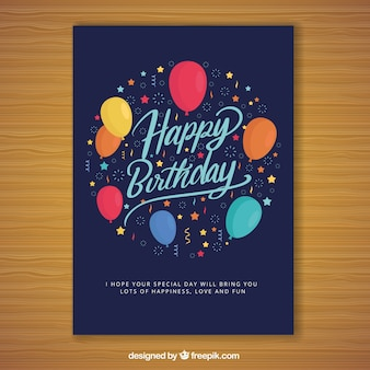 Happy birthday card in flat style