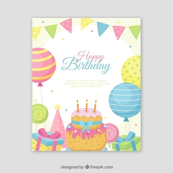 Happy birthday card in flat style